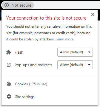 """The Chrome notification about a """"Not secure"""" website that doesn't use an SSL certificate."""